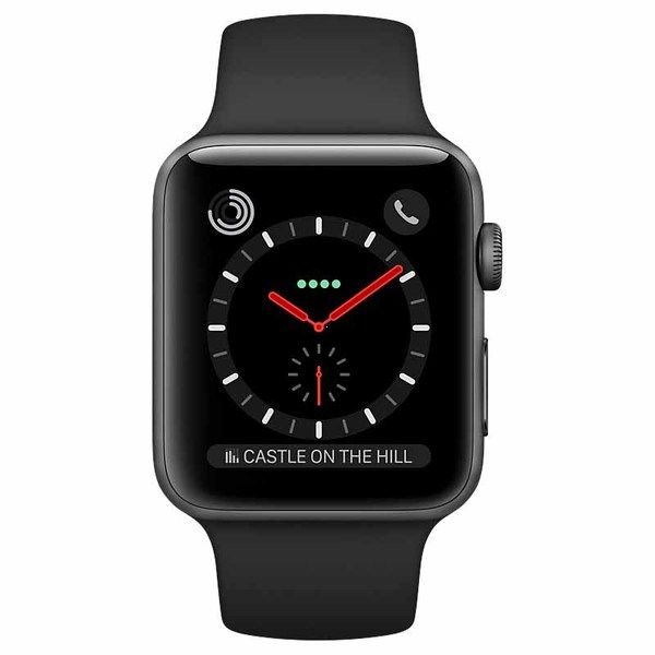 Часы Apple Watch Series 3, 42mm GPS + Cellular Space Black Stainless Steel Case With Black Sport Band |MQK92|