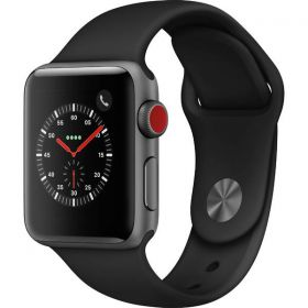 Часы Apple Watch Series 3, 38mm GPS + Cellular Space Gray Aluminium Case with Black Sport Band |MQJP2|