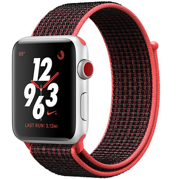 Часы Apple Watch Nike+ Series 3, 38mm GPS + Cellular Silver with Bright Crimson/Black Nike Sport Loop |MQL72|