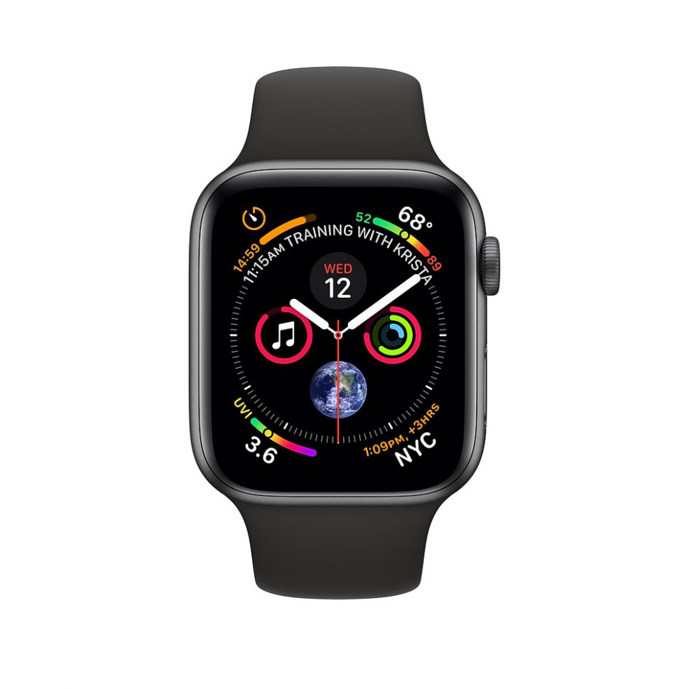 Часы Apple Watch Series 4, 44mm GPS + Cellular Space Gray Aluminum Case with Black Sport Band |MTUW2|