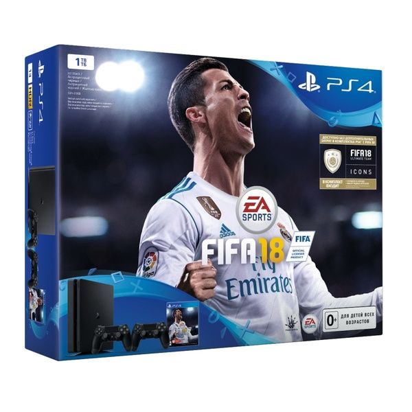 Приставка Sony PlayStation Slim 1Tb + Dualshock + Fifa 18