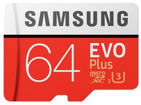 Карта памяти Samsung Evo Plus MicroSD 64Gb + Adapter SD |MB-MC64GA|